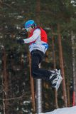 Lettland stad Cesis, vinter, Snowboardmästerskap, snowboarder, Arkivfoton