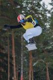 Lettland stad Cesis, vinter, Snowboardmästerskap, snowboarder, Arkivfoto