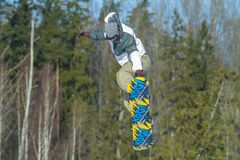 Lettland stad Cesis, vinter, Snowboardmästerskap, snowboarder, Fotografering för Bildbyråer