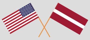 Lettland und USA Die lettischen und der Vereinigten Staaten von Amerika Flaggen Offizielle Farben Korrekter Anteil Vektor lizenzfreie abbildung
