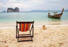 Letto, cane e barca Fotografia Stock Libera da Diritti