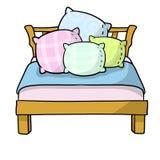 Letto con il cuscino di morbidezza quattro illustrazione di stock