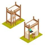Letto di cuccetta ed illustrazione isometrici del letto del sottotetto Fotografia Stock Libera da Diritti