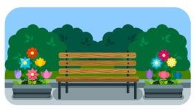 Letto di fiore e del banco in uno stile piano Immagini Stock Libere da Diritti