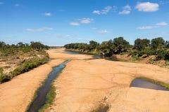 Letto di fiume asciutto nel parco nazionale di Kruger Immagini Stock Libere da Diritti