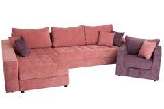 Letto di sofà piegante di colore rosa, 100%, isolato su bianco Fotografia Stock Libera da Diritti