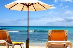 Letto e parasole di Sun Fotografie Stock