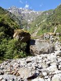 Letto roccioso in Nuova Zelanda sulla costa ovest fotografie stock