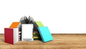 Lettore Books del libro elettronico e compressa su successo di legno K dell'illustrazione 3d Fotografia Stock