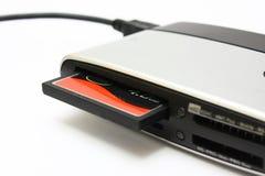 Lettore di schede con la scheda dei CF Fotografie Stock Libere da Diritti