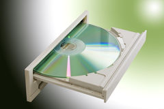 Lettore DVD con dvd dentro Immagine Stock