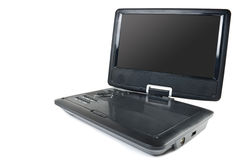 Lettore DVD portatile e TV isolati su bianco Immagini Stock