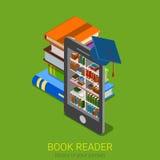 Lettore elettronico del libro delle biblioteche del libro elettronico online piano isometrico di movimento di liberazione Fotografie Stock