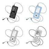 Lettore MP3 per ascoltare la musica durante l'allenamento La singola icona di allenamento e della palestra nel fumetto disegna le Fotografia Stock