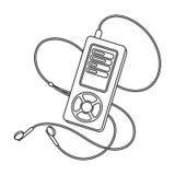 Lettore MP3 per ascoltare la musica durante l'allenamento La singola icona di allenamento e della palestra nel profilo disegna le Immagine Stock Libera da Diritti