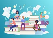Lettori dei giovani che si siedono sulle pile di libri giganti e di lettura Letteratura, biblioteca, conoscenza o istruzione d'av illustrazione di stock