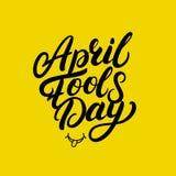 Lettrage écrit par main d'April Fools Day pour la carte de voeux, affiches, copies Image stock