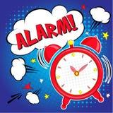 Lettrage bonjour avec le réveil sur le fond bleu Bruit Art Vector Illustration Images stock
