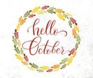Lettrage bonjour octobre de mode de vie de vecteur Photos stock