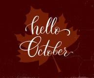 Lettrage bonjour octobre de mode de vie de vecteur Images stock