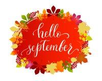 Lettrage bonjour septembre de mode de vie de vecteur Photos stock