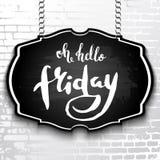 Lettrage-bonjour vendredi manuscrit unique dessiné par la craie blanche o illustration stock