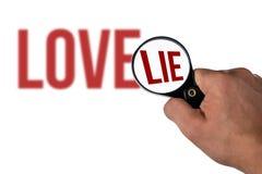 Lettrage brouillé d'amour, dans un mensonge de loupe Photo stock