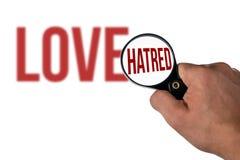 Lettrage brouillé d'amour, dans une haine de loupe Image libre de droits