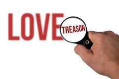 Lettrage brouillé d'amour, dans une trahison de loupe Images libres de droits