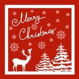 Lettrage calligraphique de main de Joyeux Noël Carte de voeux de vecteur Flocons blancs de neige de sapins de cerfs communs Fond  Image stock