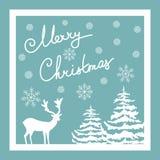 Lettrage calligraphique de main de Joyeux Noël Carte de voeux de vecteur La neige blanche de sapins de cerfs communs s'écaille su Photo libre de droits
