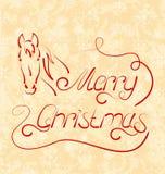 Lettrage calligraphique de Noël avec le cheval Photographie stock
