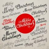 Lettrage calligraphique de vecteur de Joyeux Noël illustration stock