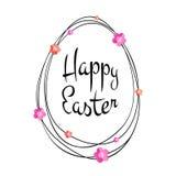 Lettrage calligraphique typographique noir heureux de Pâques de vecteur avec le cadre d'oeufs de griffonnage d'or et les fleurs d Photos libres de droits