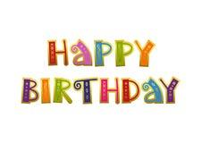 Lettrage coloré décoratif de joyeux anniversaire avec l'ornement d'or et de contour sur le fond blanc illustration stock