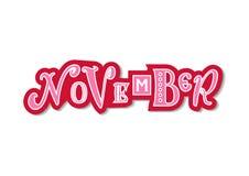 Lettrage coloré décoratif de novembre avec différentes lettres dans le rose avec le contour et l'ombre blancs rouges illustration libre de droits