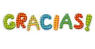 Lettrage coloré de Gracias de mot espagnol Photographie stock