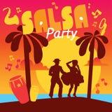 Lettrage coloré de Salsa avec des confettis, paumes, musique illustration de vecteur