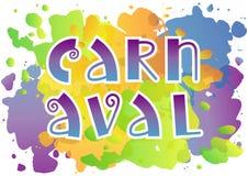Lettrage décoratif de Carnaval dans le pourpre bleu avec le contour blanc sur le fond d'aquarelle illustration stock