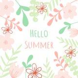 Lettrage d'été de vecteur bonjour Fond floral abstrait Pour l'affiche, bannière, copie illustration stock