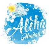 Lettrage d'Aloha Hawaii Photographie stock libre de droits