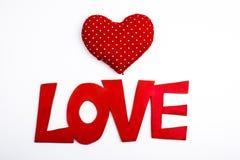 Lettrage d'amour avec des coeurs Images stock