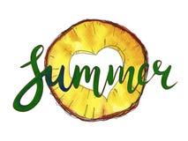 Lettrage d'aquarelle sur le fond d'ananas illustration stock