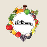 Lettrage d'automne avec des fruits et légumes Illustration plate de vecteur Photos stock