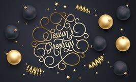 Lettrage d'or de calligraphie de flourish des textes de police de salutations de saison de la typographie de biais d'or desig de  illustration libre de droits