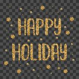 Lettrage d'or de miroitement de vacances heureuses Photo stock