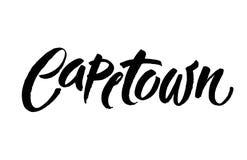 Lettrage d'encre de brosse de Capetown d'isolement sur le fond blanc Images libres de droits