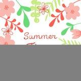 Lettrage d'heure d'été de vecteur Fond floral abstrait Pour l'affiche, bannière, copie illustration libre de droits