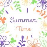 Lettrage d'heure d'été Illustration florale de vecteur Pour l'affiche, bannière, copie illustration de vecteur