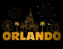 Lettrage d'or d'Orlando sur le backround noir Vecteur avec des icônes et des feux d'artifice de voyage Lettrage d'or de PostcardO illustration stock